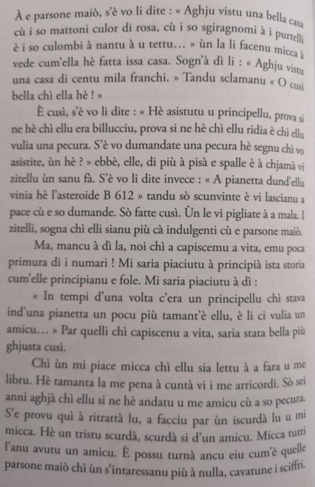 Un altru strattu di <i> U Principellu</i> di Antoine de St Exupery