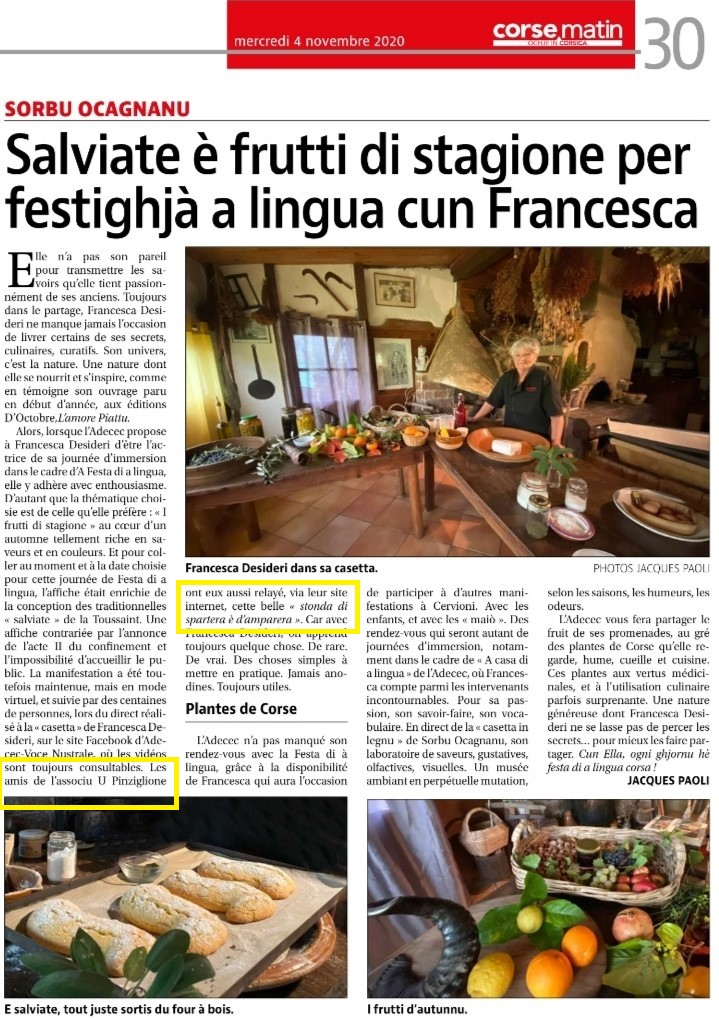 L'ADECEC incù Francesca Desideri - CM du 04 / 11 / 20