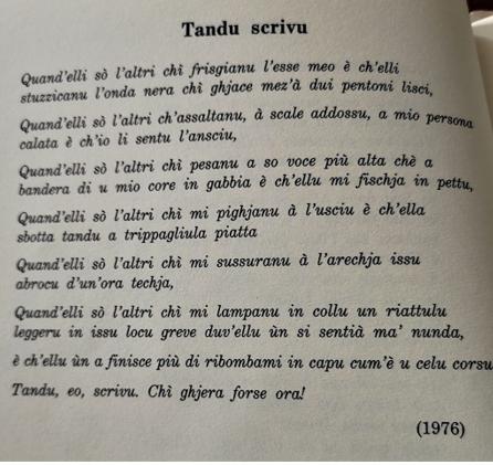 <i>Tandu scrivu</i>, , una puesia di Ghjacumu Fusina